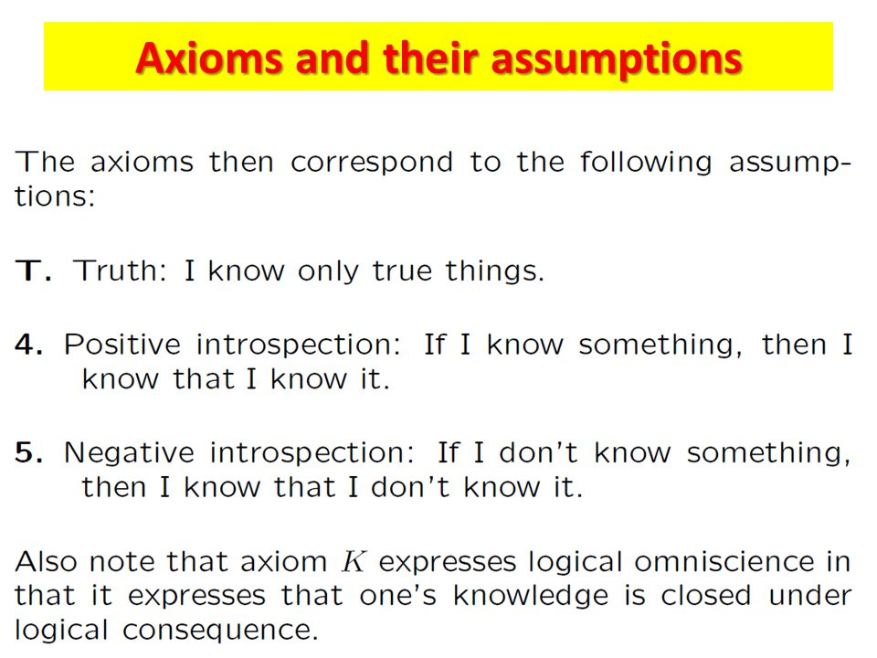 Axioms and their assumptions