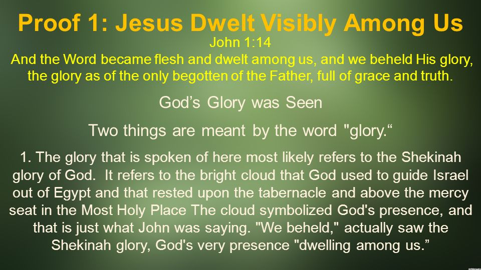 Proof 1: Jesus Dwelt Visibly Among Us John 1:14 And the Word became flesh and dwelt among us, and we beheld His glory, the glory as of the only begotten of the Father, full of grace and truth.