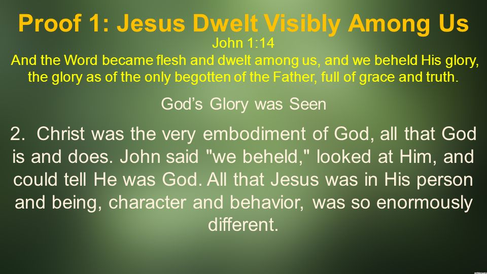 Proof 1: Jesus Dwelt Visibly Among Us John 1:14 And the Word became flesh and dwelt among us, and we beheld His glory, the glory as of the only begott