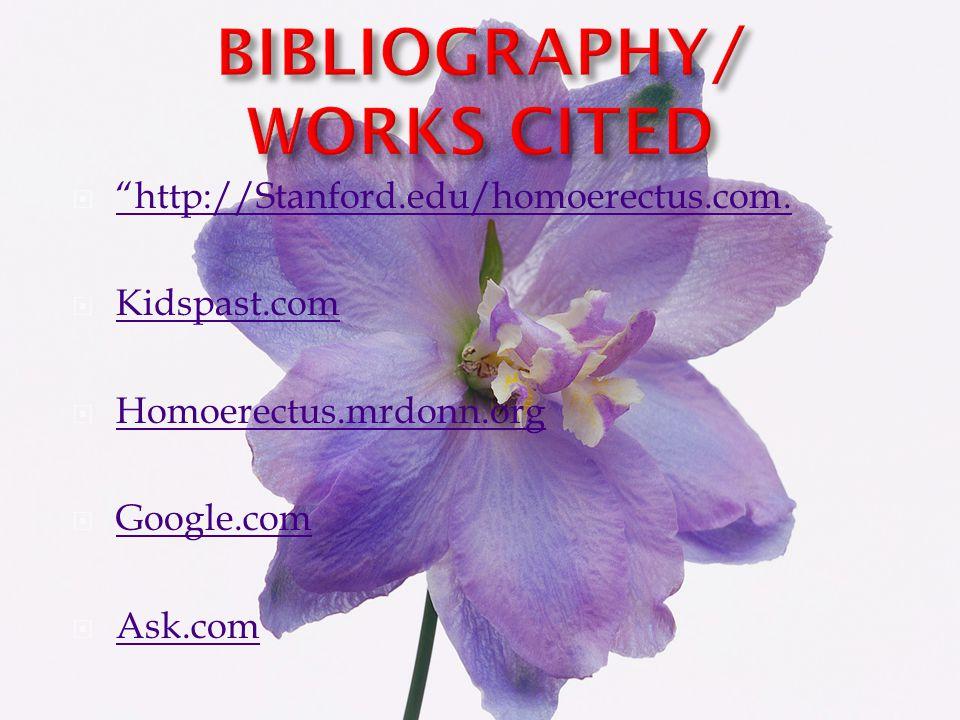 21)Ibid. 22)Ibid. 23) Stanford.edu/homoerectus.com. 24)Ibid. 25)Ibid. 26)Ibid. 27)Ibid. 28)Ibid. 29)Ibid. 30)Mrdonn.org. 31)Ibid. 32)Ibid. 33)Ibid. 34