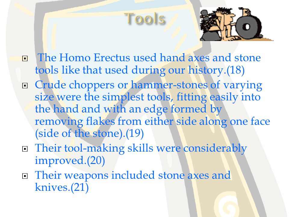 Homo Erectus lived in caves and were famous hunters.(14) They used fire a lot in their daily life.(15) They lived in groups that ranged from 20 to 30