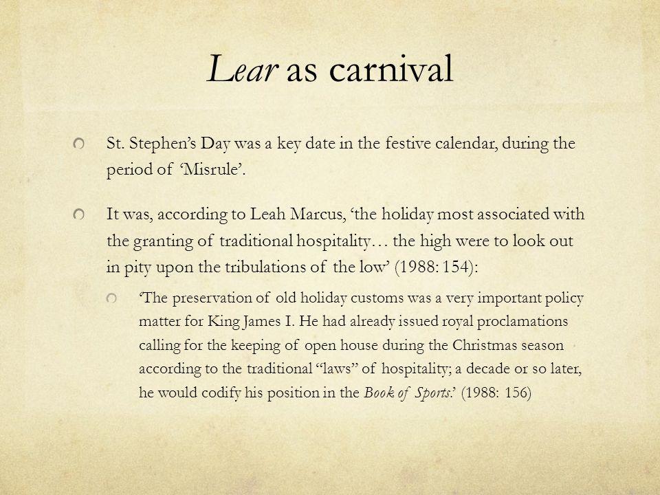 Lear as carnival St.