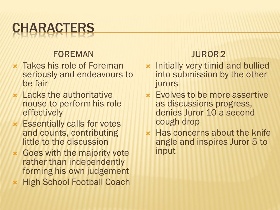 FOREMAN Takes his role of Foreman seriously and endeavours to be fair Lacks the authoritative nouse to perform his role effectively Essentially calls