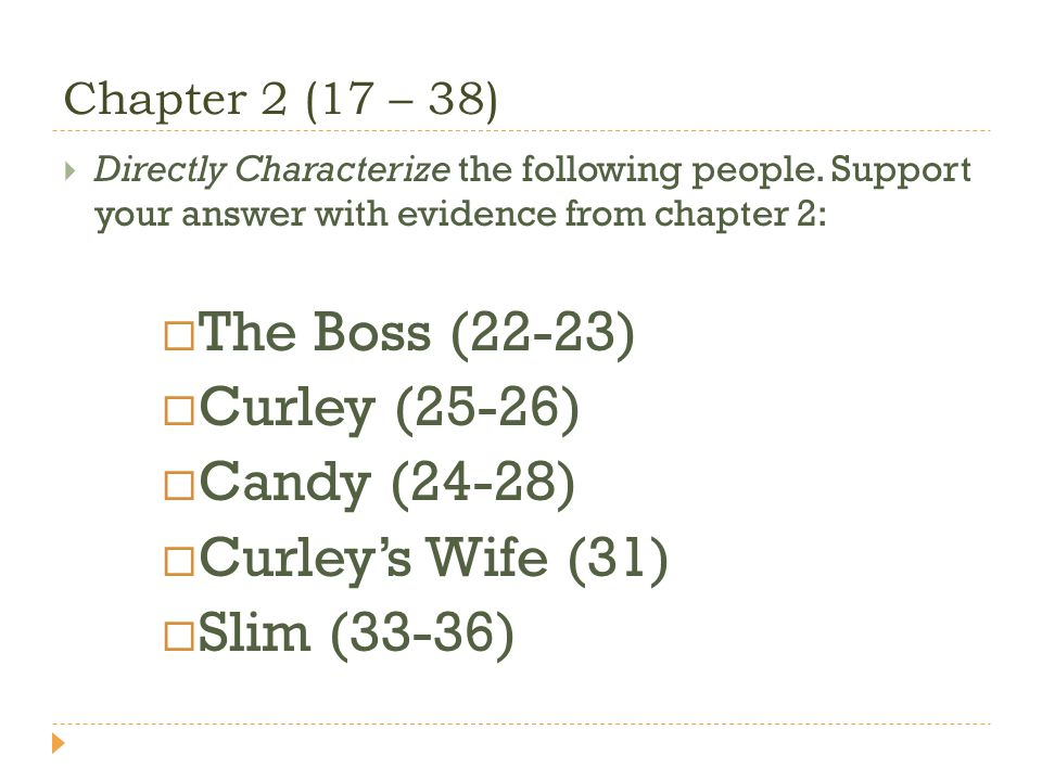 Chapter 2 (17 – 38) Directly Characterize the following people. Support your answer with evidence from chapter 2: The Boss (22-23) Curley (25-26) Cand