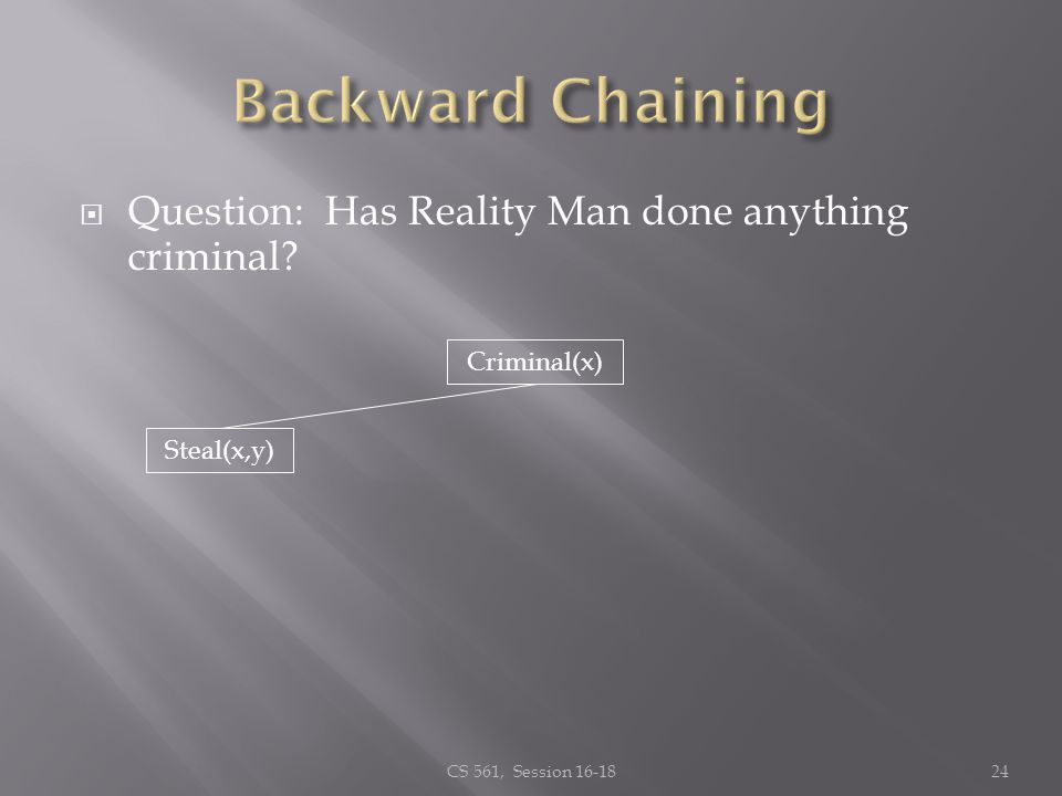 Question: Has Reality Man done anything criminal? CS 561, Session 16-1824 Criminal(x) Steal(x,y)