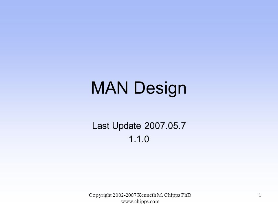Objectives of This Section Learn some aspects of network design that are specific to a MAN Copyright 2002-2007 Kenneth M.