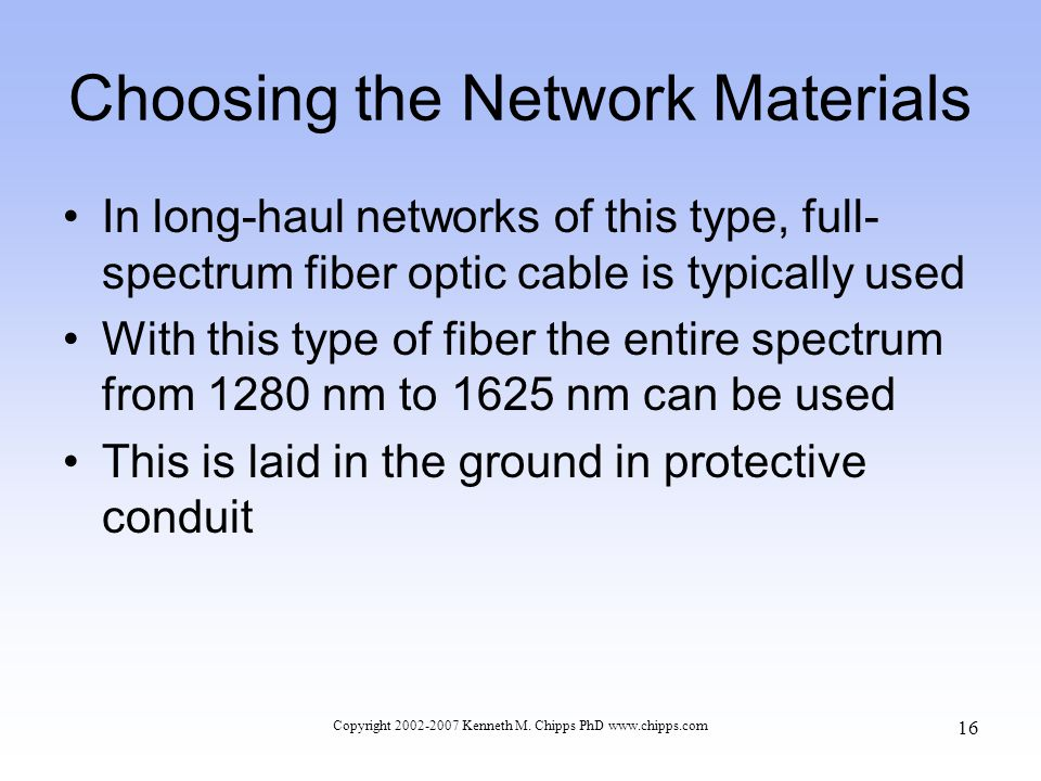 Choosing the Network Materials In long-haul networks of this type, full- spectrum fiber optic cable is typically used With this type of fiber the entire spectrum from 1280 nm to 1625 nm can be used This is laid in the ground in protective conduit Copyright 2002-2007 Kenneth M.