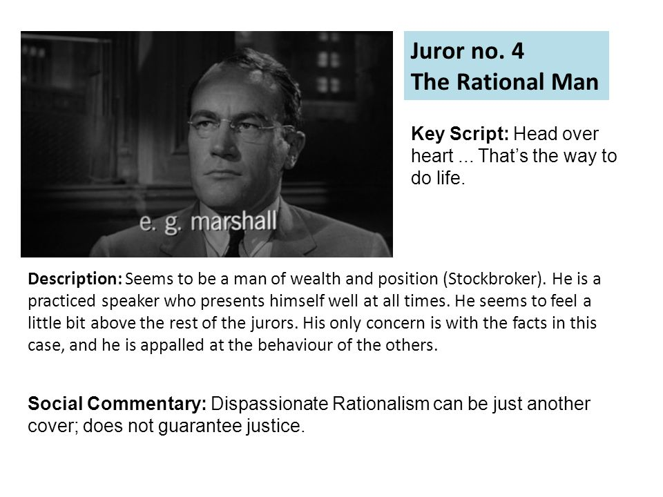 Juror no. 4 The Rational Man Description: Seems to be a man of wealth and position (Stockbroker).