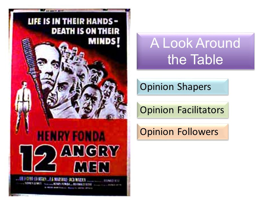 A Look Around the Table Opinion Shapers Opinion Facilitators Opinion Followers