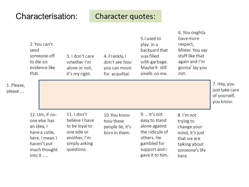 Characterisation: Character quotes: 6. You oughta have more respect, Mister.