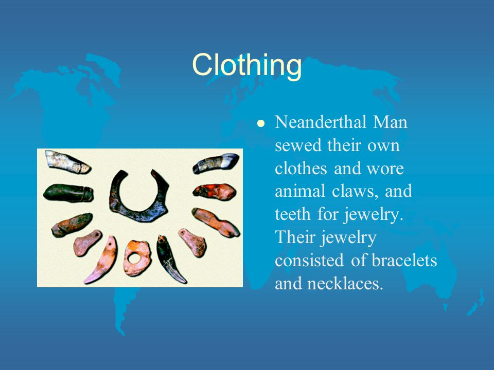Clothing l Neanderthal Man sewed their own clothes and wore animal claws, and teeth for jewelry.