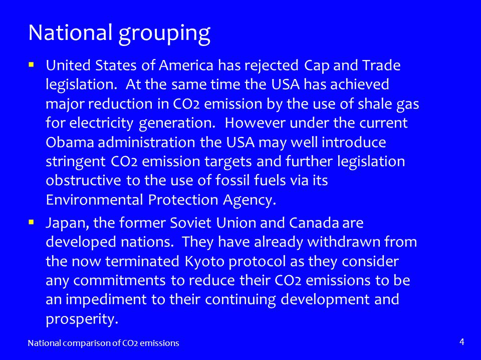 National grouping United States of America has rejected Cap and Trade legislation.