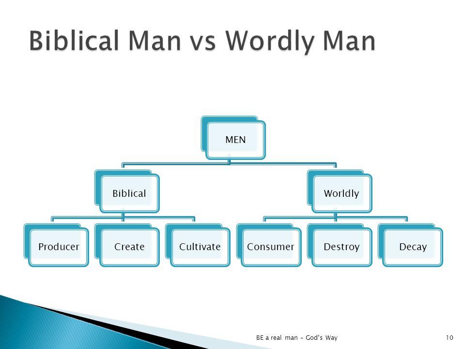 MENBiblicalProducerCreateCultivateWorldlyConsumerDestroyDecay BE a real man – Gods Way10