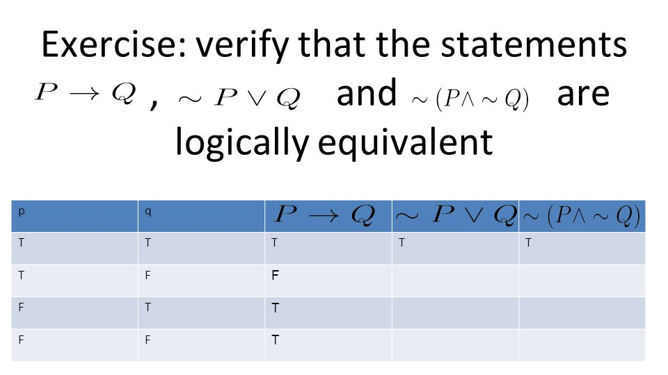 Exercise: verify that the statements, and are logically equivalent pq TTTTT TF F FT T FF T