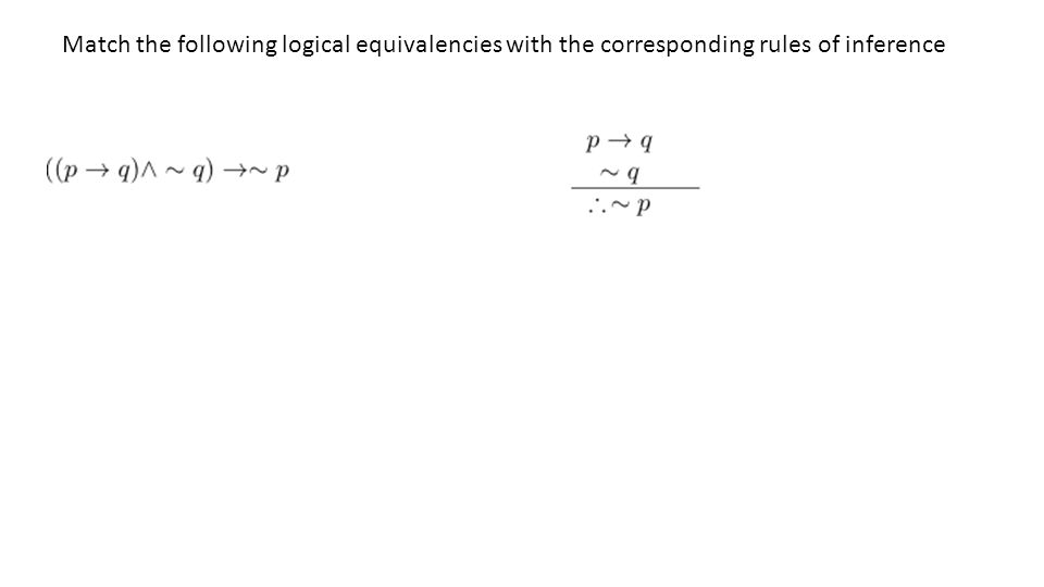 Match the following logical equivalencies with the corresponding rules of inference