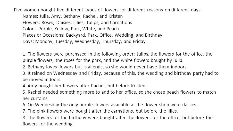 Five women bought five different types of flowers for different reasons on different days. Names: Julia, Amy, Bethany, Rachel, and Kristen Flowers: Ro