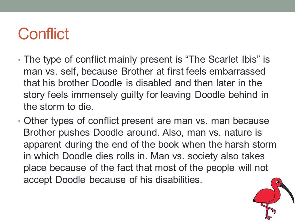 Conflict The type of conflict mainly present is The Scarlet Ibis is man vs. self, because Brother at first feels embarrassed that his brother Doodle i
