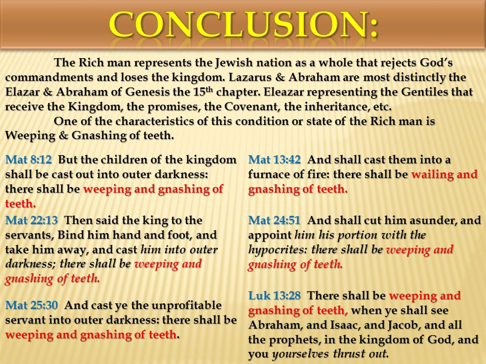 The Rich man represents the Jewish nation as a whole that rejects Gods commandments and loses the kingdom.