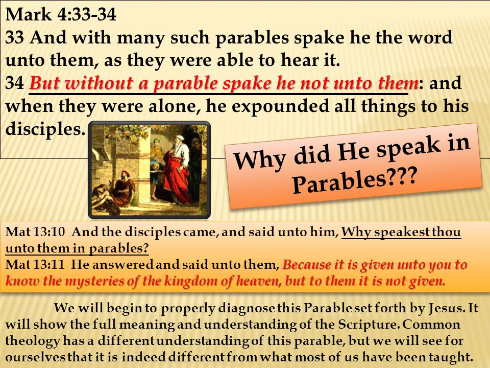Mark 4:33-34 33 And with many such parables spake he the word unto them, as they were able to hear it.