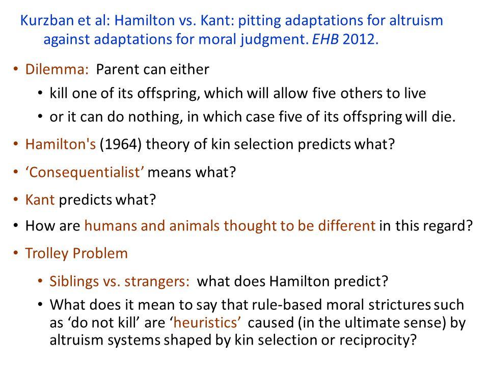 Kurzban et al: Hamilton vs.
