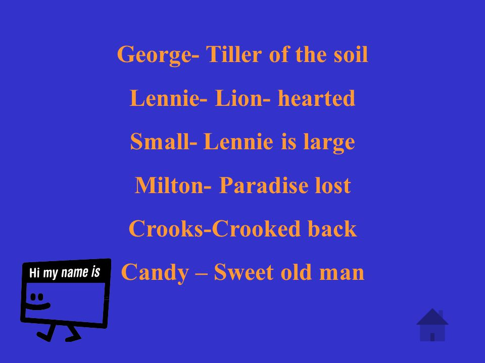 What do these names mean? George Milton Small Crooks Candy Lennie