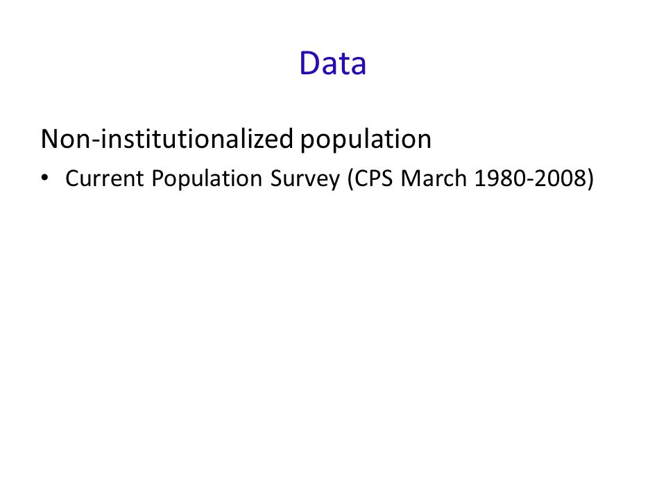 Data Non-institutionalized population Current Population Survey (CPS March )