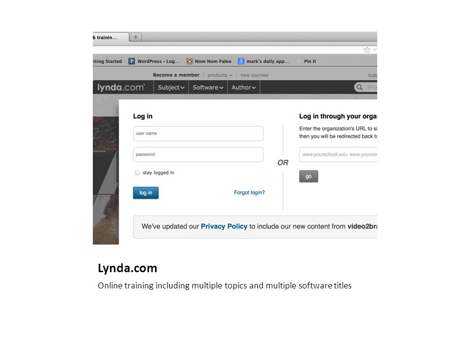 Lynda.com Online training including multiple topics and multiple software titles