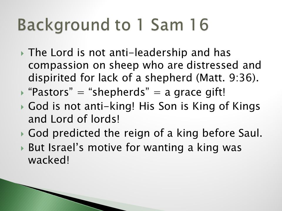 The Lord is not anti-leadership and has compassion on sheep who are distressed and dispirited for lack of a shepherd (Matt. 9:36). Pastors = shepherds