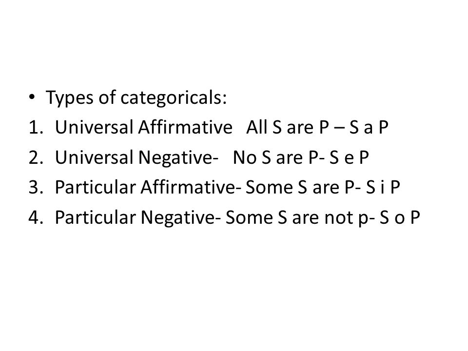 Forms of syllogism Conclusion is always S-P 256 forms- 6 fallacies in each categories are valid forms, some of them have an existential fallacy i.e.