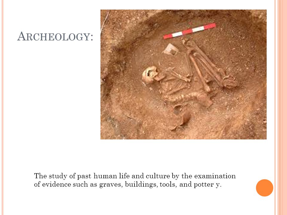 A RCHEOLOGY : The study of past human life and culture by the examination of evidence such as graves, buildings, tools, and potter y.