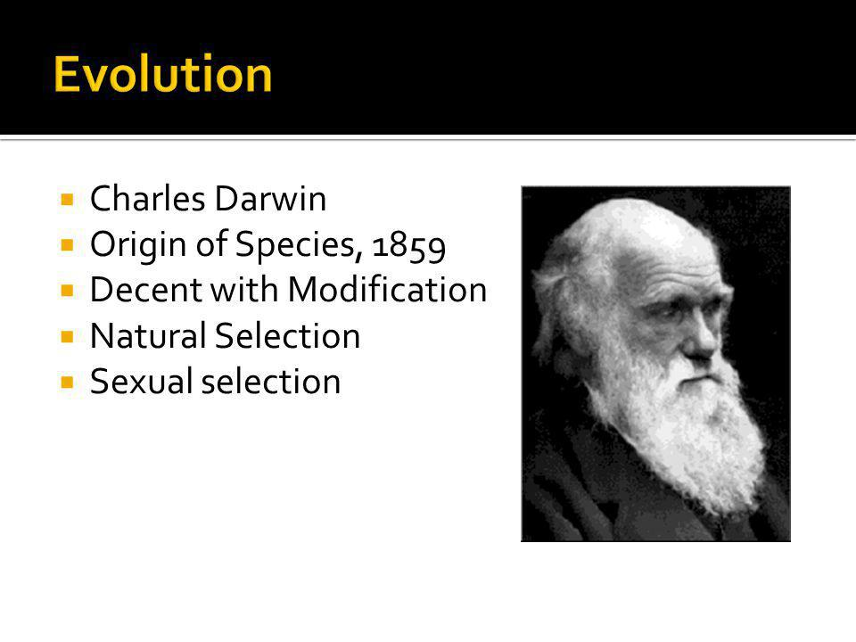 Charles Darwin Origin of Species, 1859 Decent with Modification Natural Selection Sexual selection