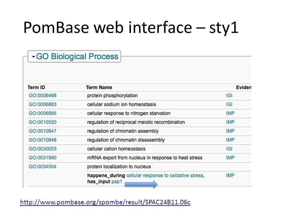 PomBase web interface – sty1 http://www.pombase.org/spombe/result/SPAC24B11.06c