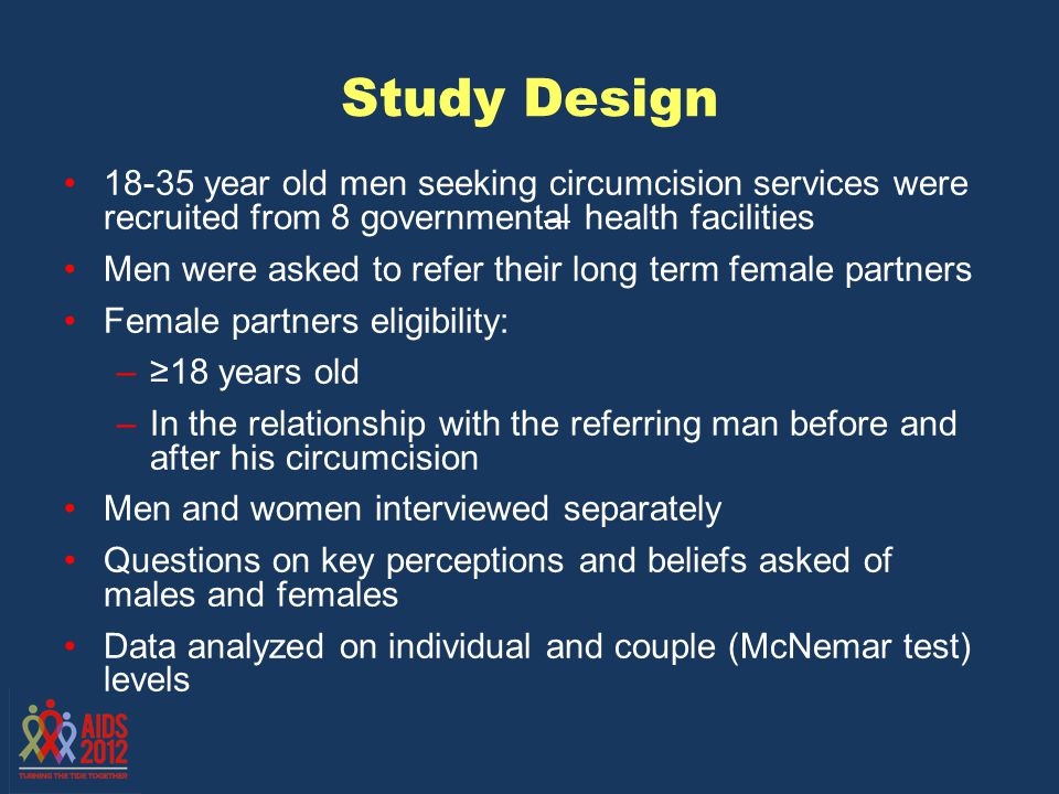 Sample description This analysis is based on 101 female partners of newly circumcised men and their partners FemalesMales Median age2122 Ethnicity: Luo88%99% Employed45%57%