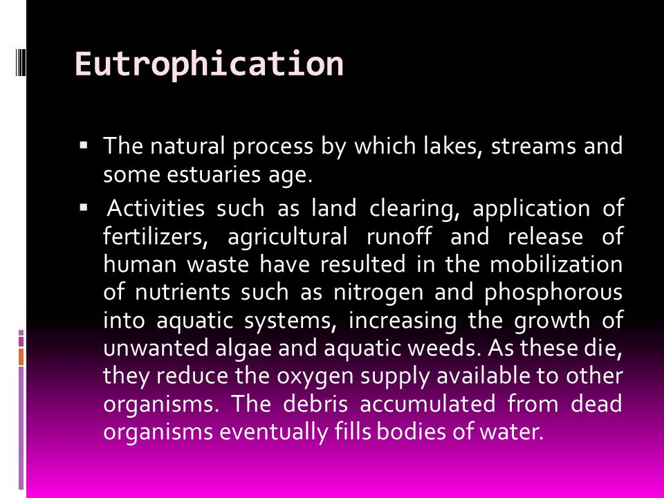 Eutrophication The natural process by which lakes, streams and some estuaries age.