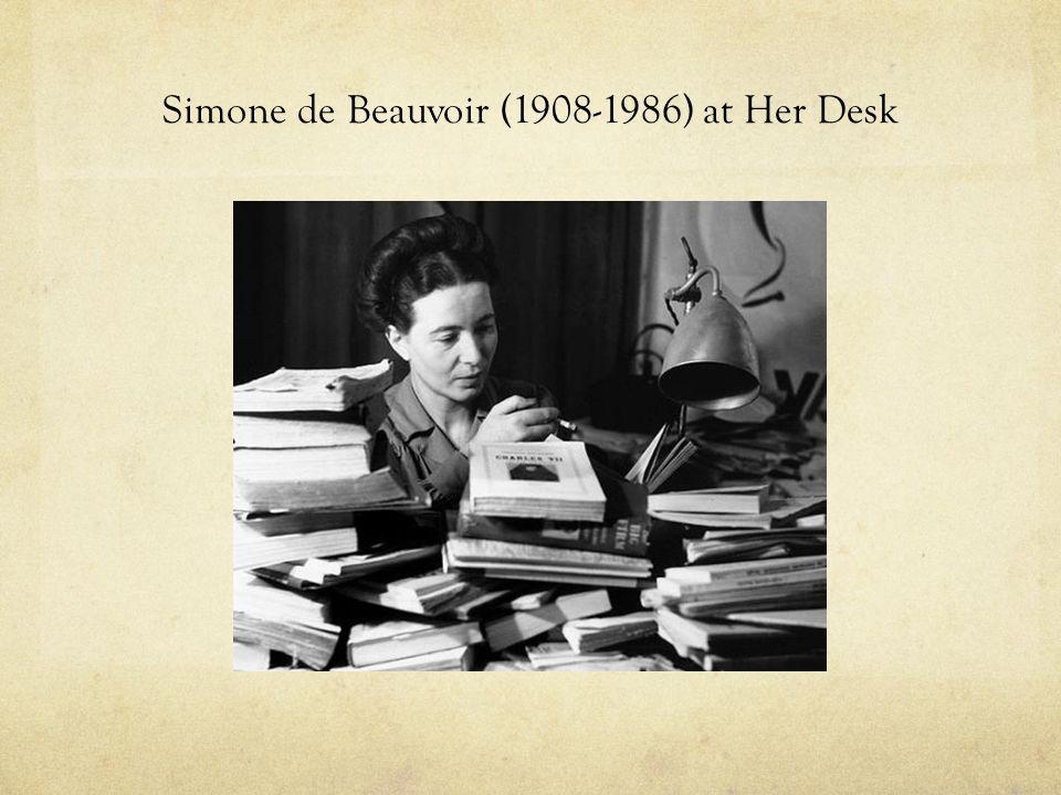 Simone de Beauvoir (1908-1986) at Her Desk