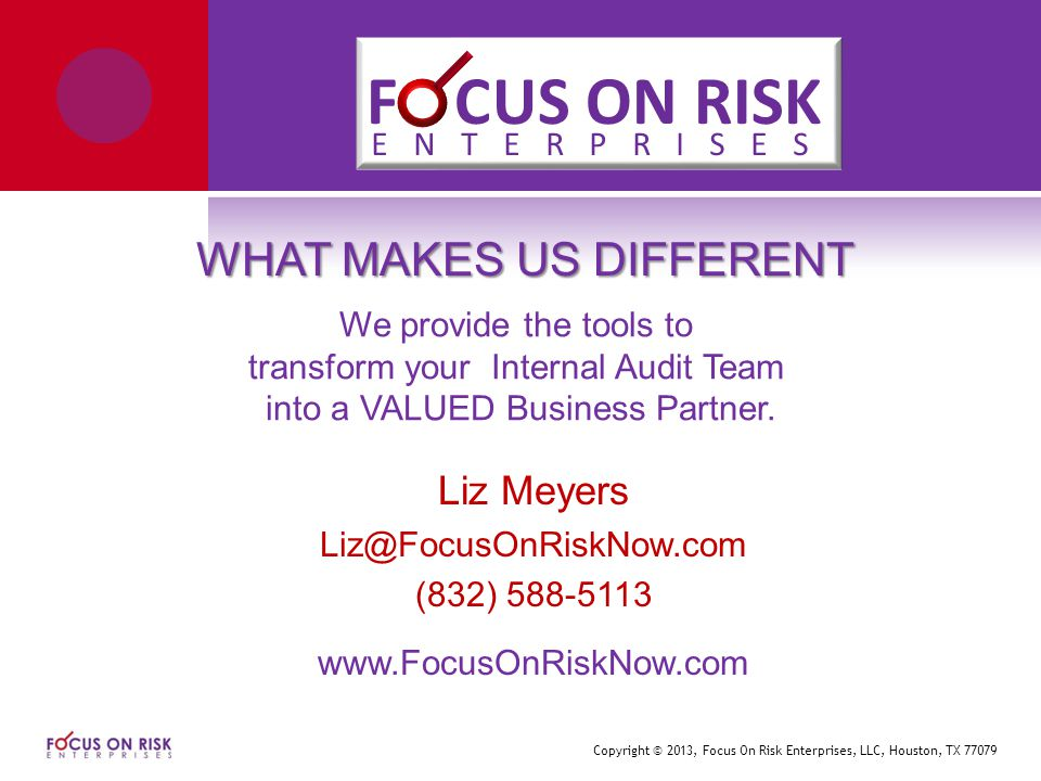 Copyright © 2013, Focus On Risk Enterprises, LLC, Houston, TX 77079 WHAT MAKES US DIFFERENT We provide the tools to transform your Internal Audit Team into a VALUED Business Partner.