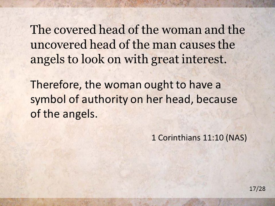 The covered head of the woman and the uncovered head of the man causes the angels to look on with great interest.