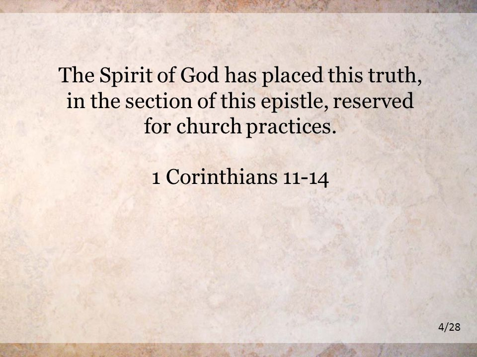 The Spirit of God has placed this truth, in the section of this epistle, reserved for church practices.