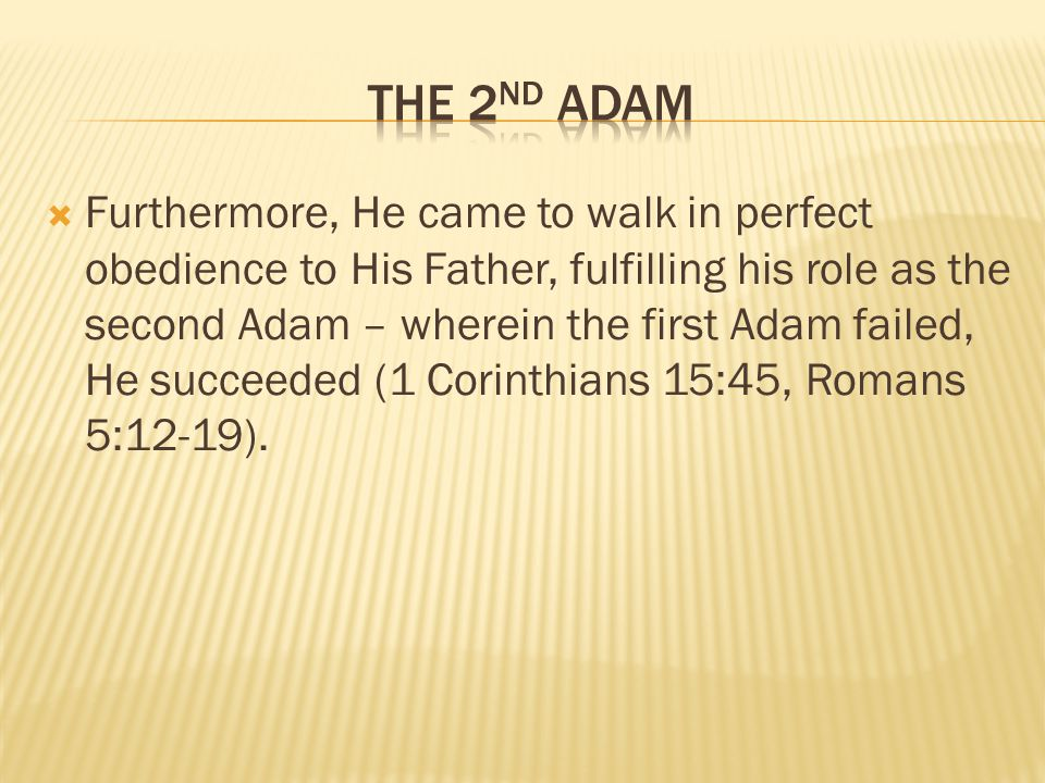 Furthermore, He came to walk in perfect obedience to His Father, fulfilling his role as the second Adam – wherein the first Adam failed, He succeeded (1 Corinthians 15:45, Romans 5:12-19).