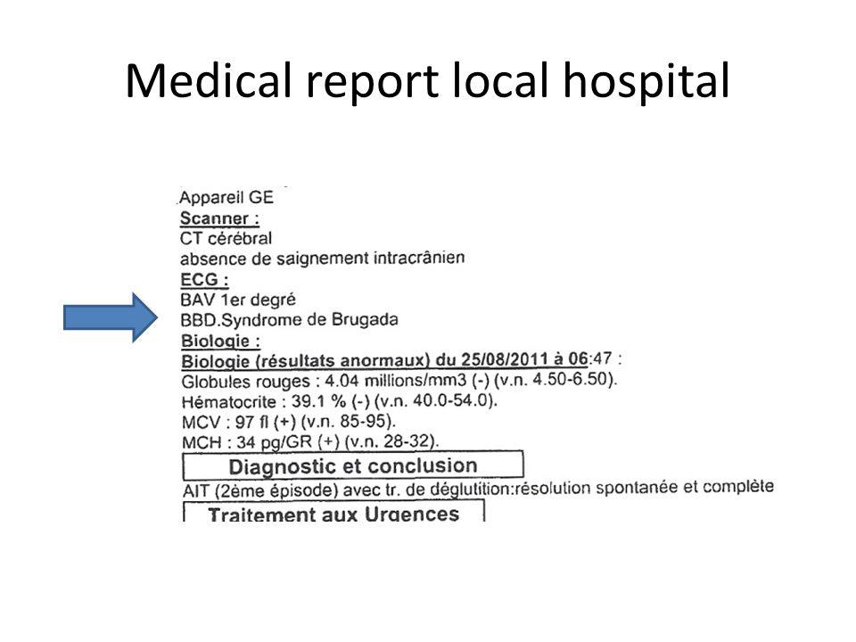 Medical report local hospital