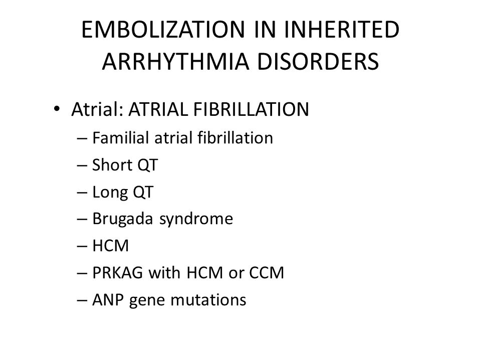 ISSUES ABOUT ANTICOAGULATION IN INHERITED ARRHYTHMIA DISORDERS.