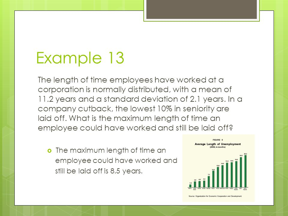 Example 13 The length of time employees have worked at a corporation is normally distributed, with a mean of 11.2 years and a standard deviation of 2.