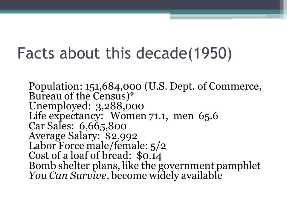 Facts about this decade(1950) Population: 151,684,000 (U.S.