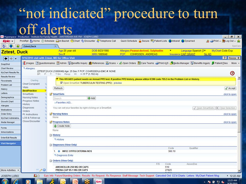not indicated procedure to turn off alerts