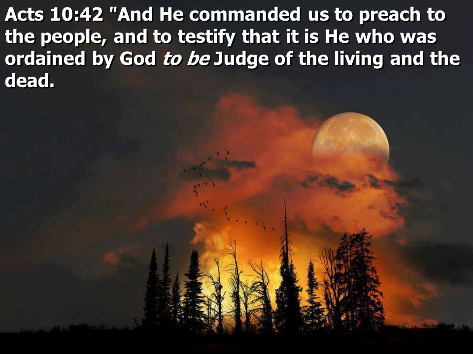 Acts 10:42 And He commanded us to preach to the people, and to testify that it is He who was ordained by God to be Judge of the living and the dead.