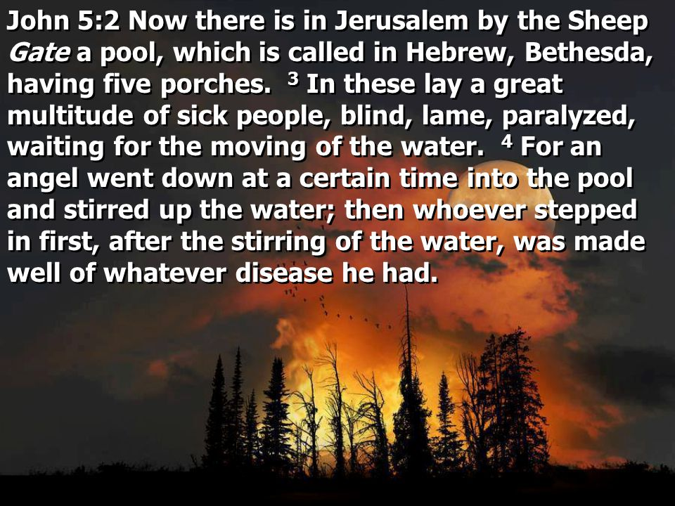 John 5:2 Now there is in Jerusalem by the Sheep Gate a pool, which is called in Hebrew, Bethesda, having five porches.