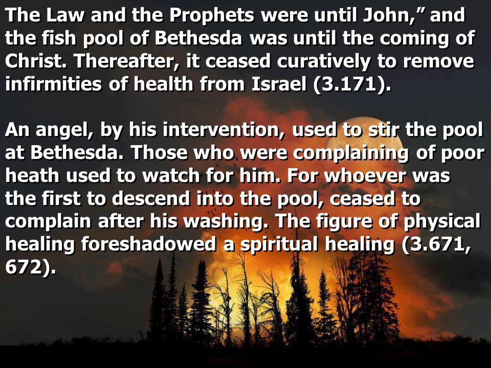 The Law and the Prophets were until John, and the fish pool of Bethesda was until the coming of Christ.