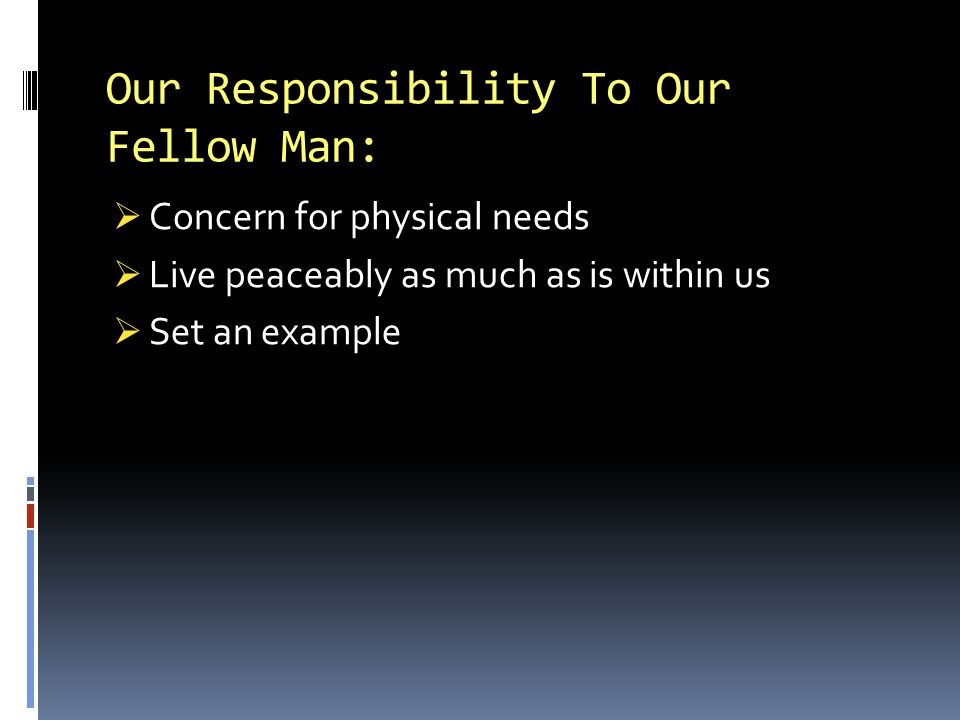Our Responsibility To Our Fellow Man: Concern for physical needs Live peaceably as much as is within us Set an example