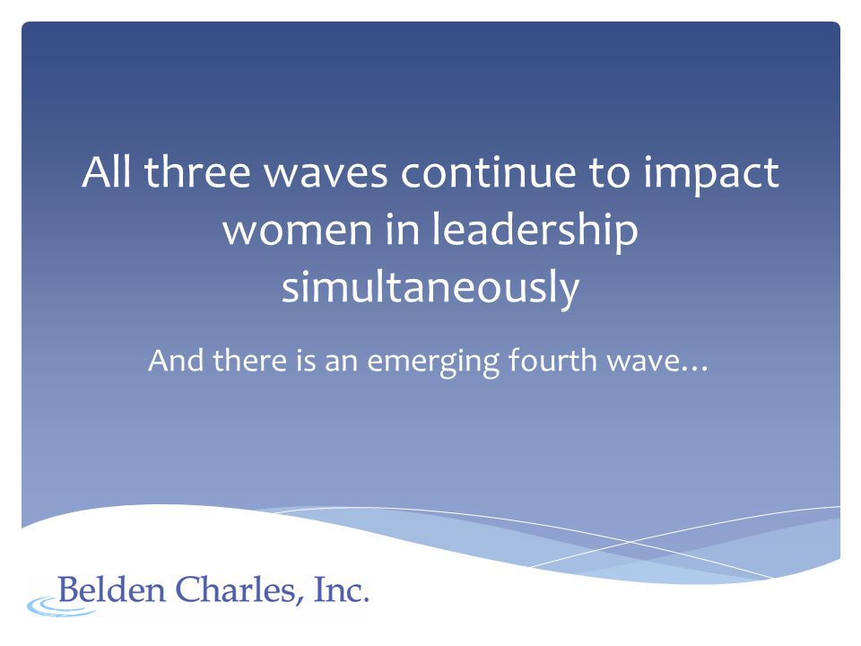 Wave Four Fourth Wave Women s Interconnectedness Women (and men) recognize ourselves as multi-dimensional, support our individual differences, our equality, and our Interdependence, while focusing our efforts, together, on the wider global issues we face.