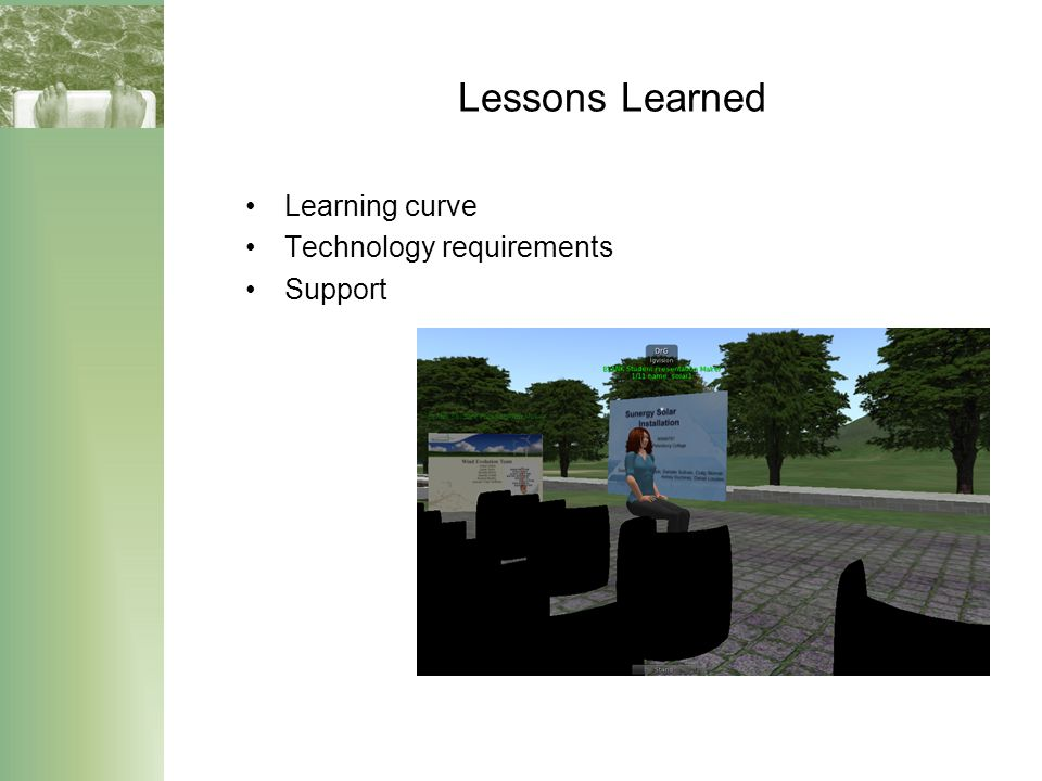 Lessons Learned Learning curve Technology requirements Support